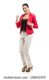 Happy businesswoman celebrate something, isolated over a white background