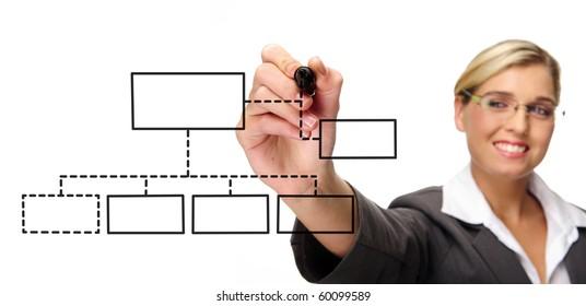 Happy businesswoman draws diagram