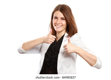 Happy businesswoman showing thumbs up against white background