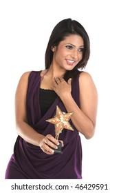 happy Businesswoman with star trophy