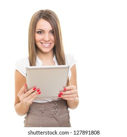 Happy businesswoman with tablet computer