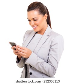 happy businesswoman texting on her smart phone