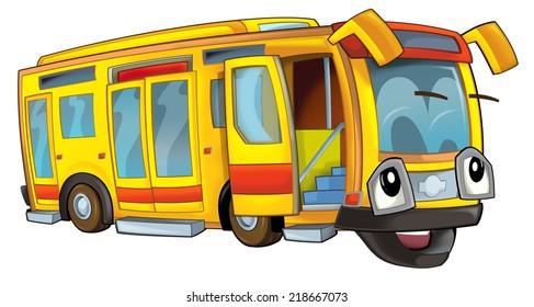 Happy cartoon bus - illustration for the children
