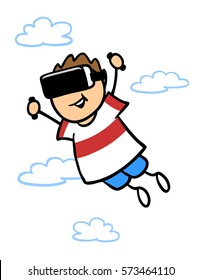 Happy cartoon child gaming with virtual reality glasses in the clouds