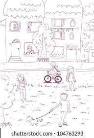 Happy cartoon city; violet and white illustration