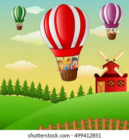 Happy cartoon kids flying in a hot air balloon in the farm