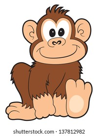 A happy cartoon monkey smiling on white.