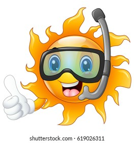 Happy cartoon sun character in diving mask giving thumbs up