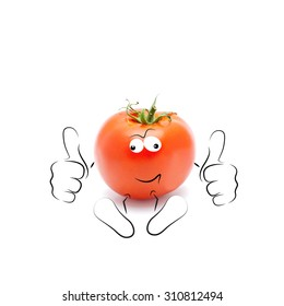 A happy cartoon tomato smiling and giving a double thumbs up