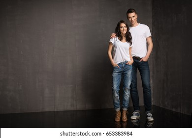 Happy casual couple in jeans