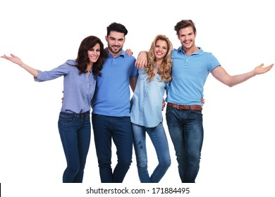 happy casual group of casual people welcoming you to the team on white background