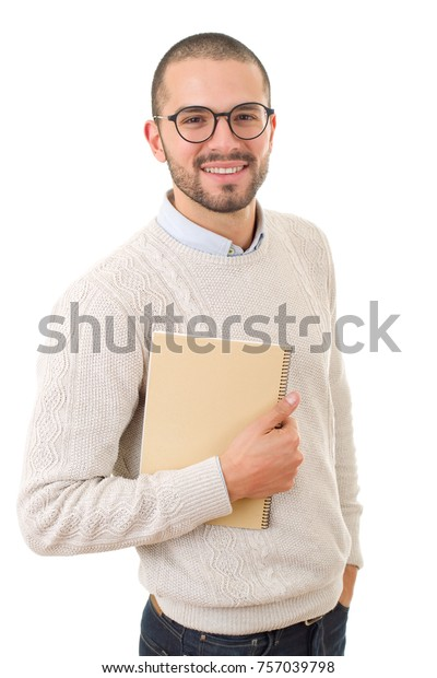 happy casual man with a book, isolated on white background