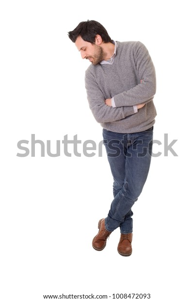 happy casual man full body in a white background