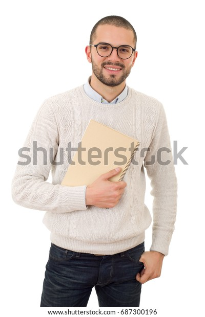 happy casual man student with a book, isolated on white background