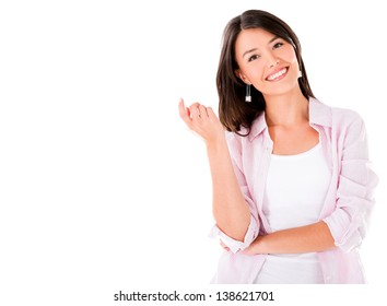 Happy casual woman smiling - isolated over a white background
