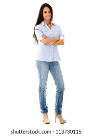 Happy casual woman standing - isolated over a white background