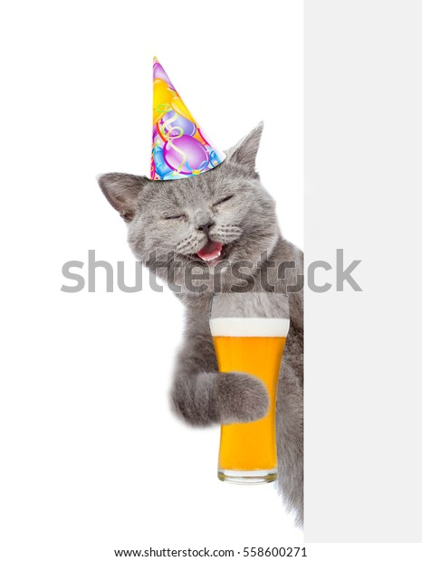 Happy Cat In Birthday Hat With Light Beer Peeking Above White Banner Isolated On