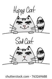 Happy cat and sad cat isolated on white background, illustration.