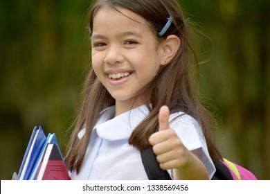 Happy Catholic Asian Female Student School Girl With Books