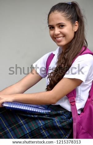 228fbf333e2 Happy Catholic Colombian School Girl Wearing Stock Photo (Edit Now ...