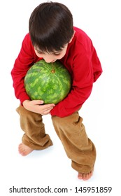 Happy Caucasian Boy Child Carrying Watermelon