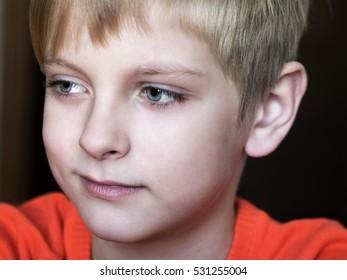 Happy caucasian boy, soft focus