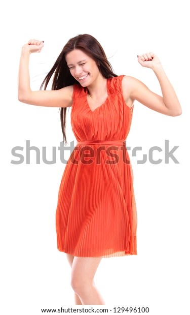 Happy caucasian businesswoman with hands raised celebrating her victory isolated on white background