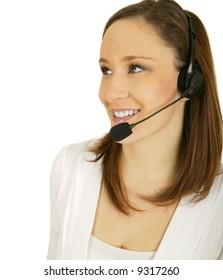 happy caucasian girl wearing headset as a customer service representative
