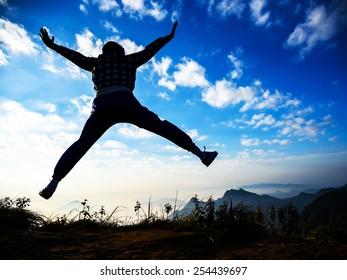 happy celebrating winning success people jumping