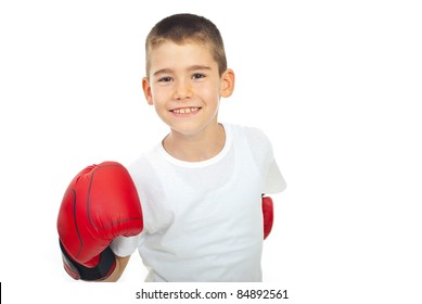 Happy champion by with boxing glove isolated on white background
