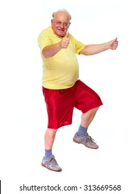 Happy cheerful elderly man dancing and jumping isolated white background.