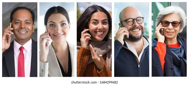 Happy cheerful men and women talking on smartphone portrait set. People of different races and ages with mobile phone multiple shot collage. Communication concept