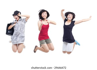 Happy, cheerful, playful youths jumping for joy