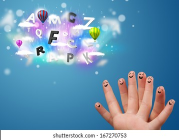 Happy cheerful smile fingers looking at colorful magical clouds and balloons illustration