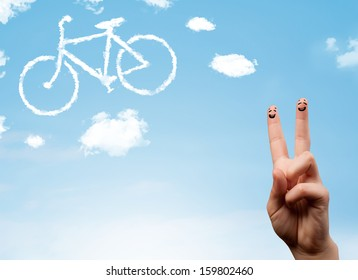 Happy cheerful smiley fingers looking at a bicycle shapeed cloud