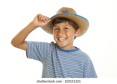 Happy cheerful smiling young boy in toy cowboy hat - on white background