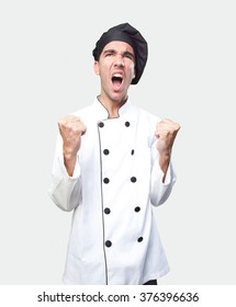 Happy chef celebrating