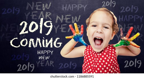 Happy child announcement New 2019 Year