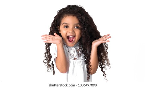 Happy Child Curly Hair Brazilian Brunette Girl Kids Hispanic Beautiful Big Smile Smiling Lively Excited Isolated White Background