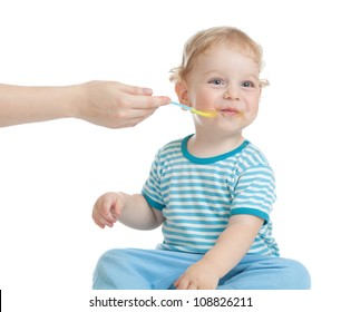 happy child feeding