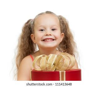 happy child girl behind gift box