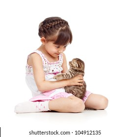 happy child girl holding  cat