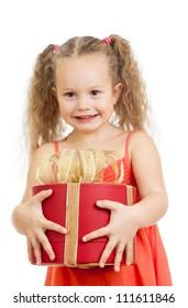 happy child girl holding gift box