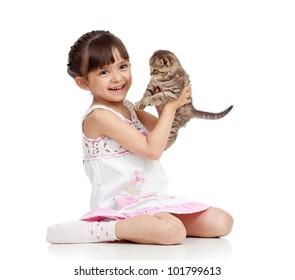 happy child girl holding  kitten