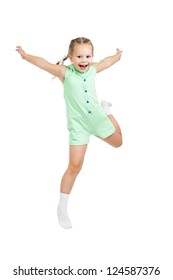 happy child girl jumping isolated on white