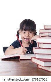 Happy child girl learning to read