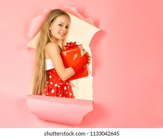 happy child girl opening gift box, copy space presents