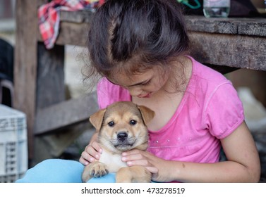 Happy child girl playing with thai local puppy in play yard of home