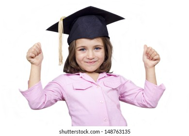 Happy child giving a thumbs up. A kid girl with a thumbs up sign, isolated on white