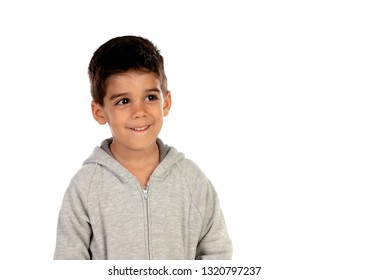 Happy child with grey sweatshirt isolated on a white background